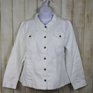 J.Jill White Denim Jacket Size XL